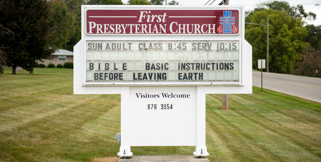 The church's sign